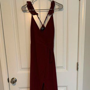 Wine Red, High/Low Wrap Dress